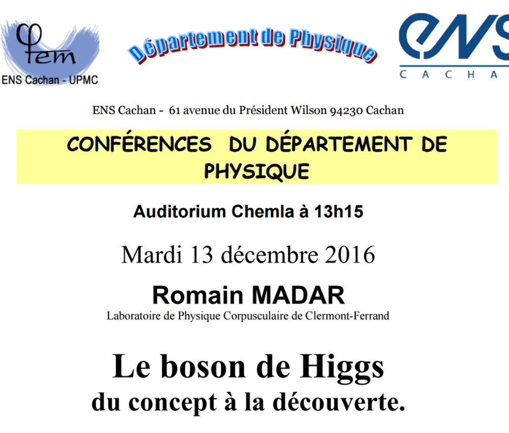 Seminar on the Higgs boson for non-HEP phycisit, at ENS Cachan